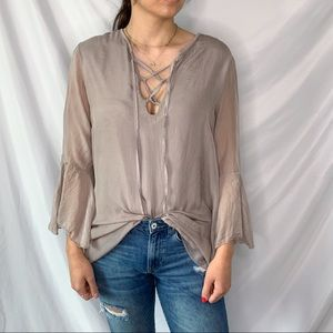 Giulia 100% Silk Bell Sleeve Lace Up Blouse Sz L
